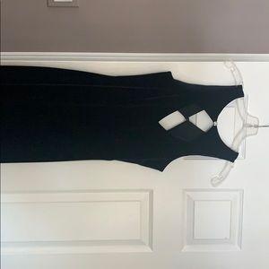 Black velvet dress with slit